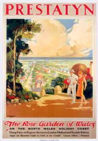Prestatyn, The Rose Garden of Wales, Denbighshire. LMS Vintage Travel Poster